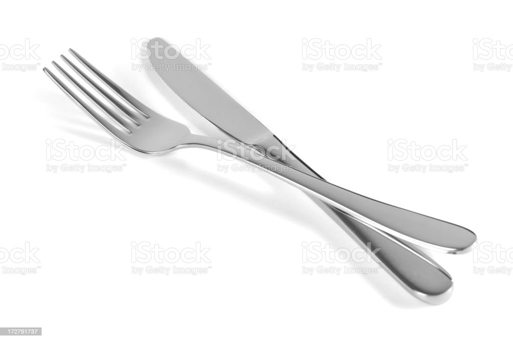 Isolated image of a set of fork and knife on white stock photo