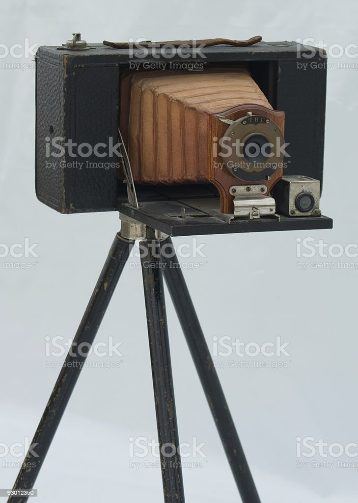 Isolated Image of an Antique Camera on a Tripod stock photo