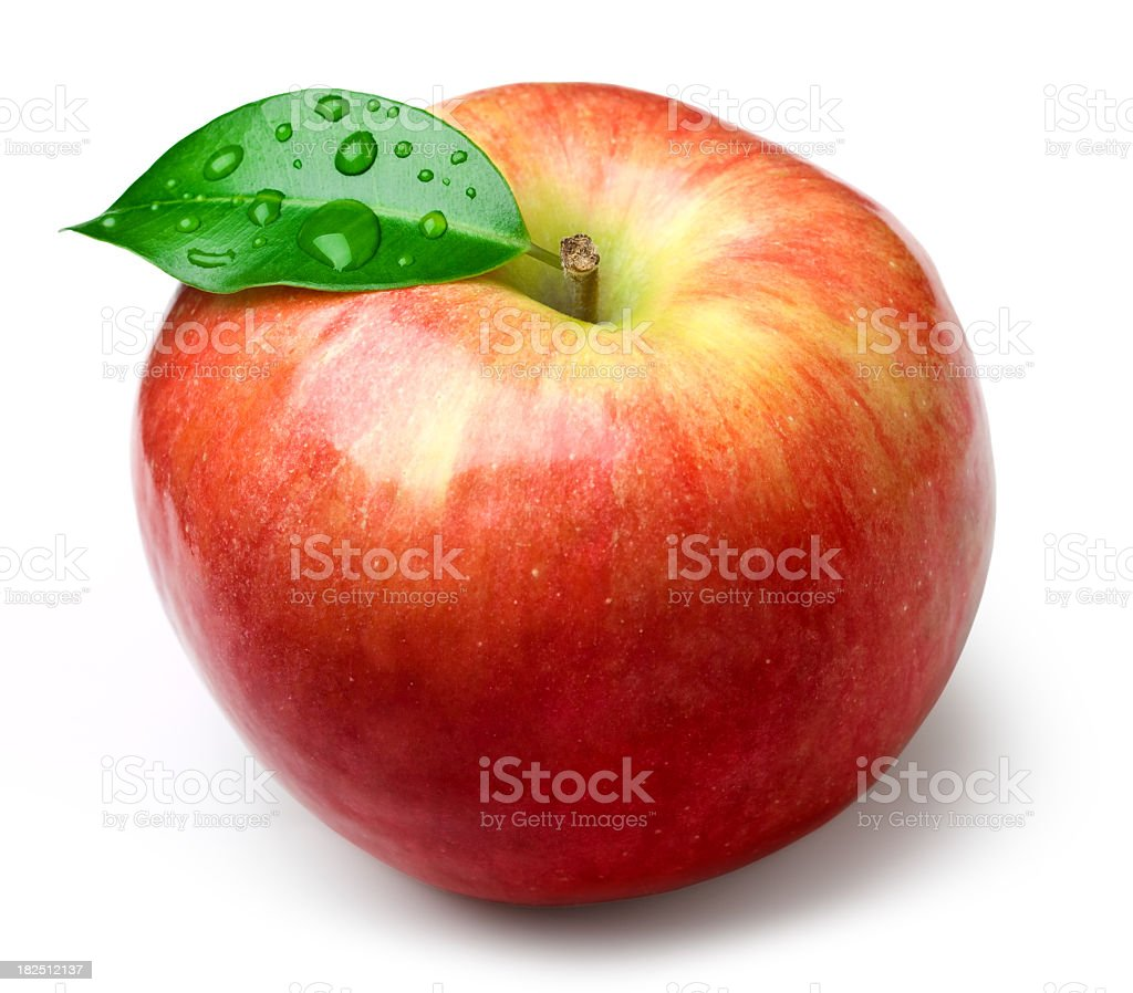 Isolated image of an apple with a single leaf stock photo