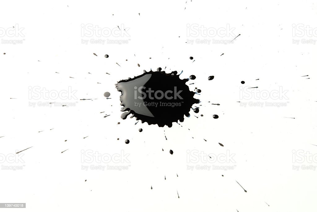 Isolated image of black ink splatter stock photo