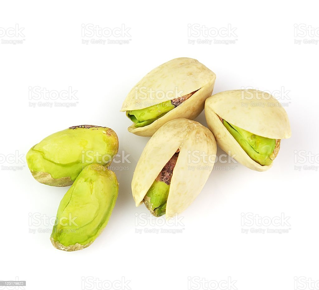 Isolated image of dried pistachio nuts stock photo