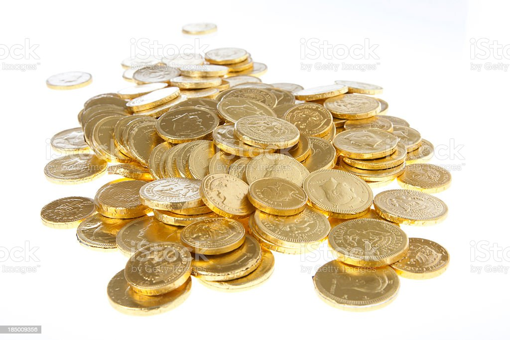 Isolated image of pile of gold coins royalty-free stock photo