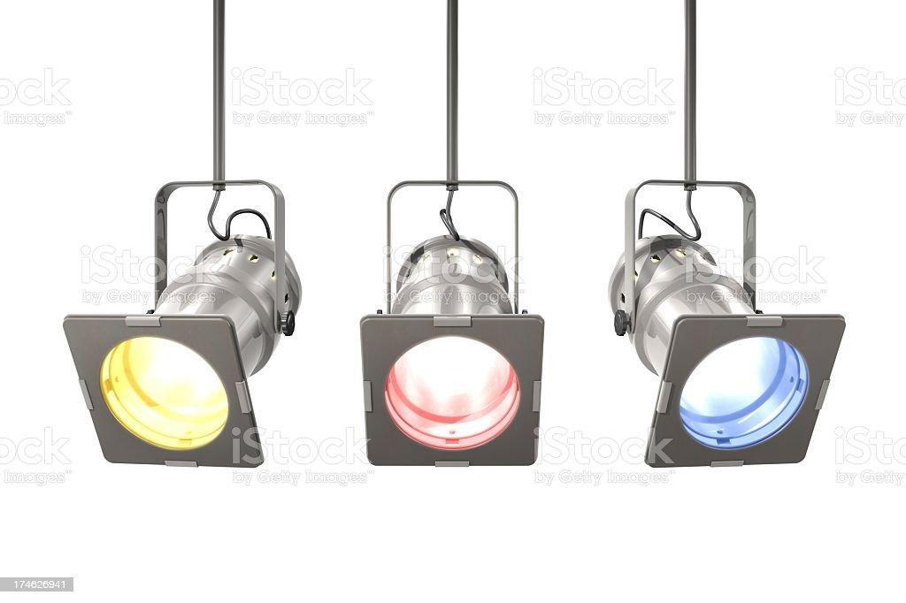 Isolated image of three spotlights on white background royalty-free stock photo