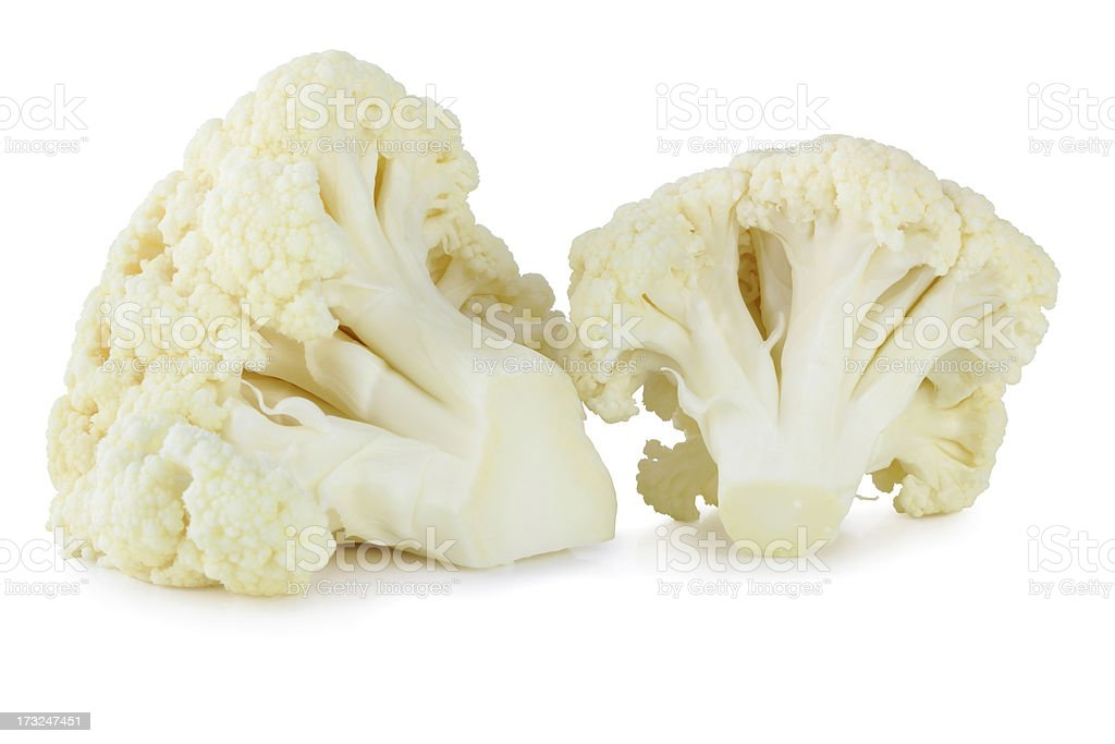 Isolated image of two stalks of cauliflower on white stock photo