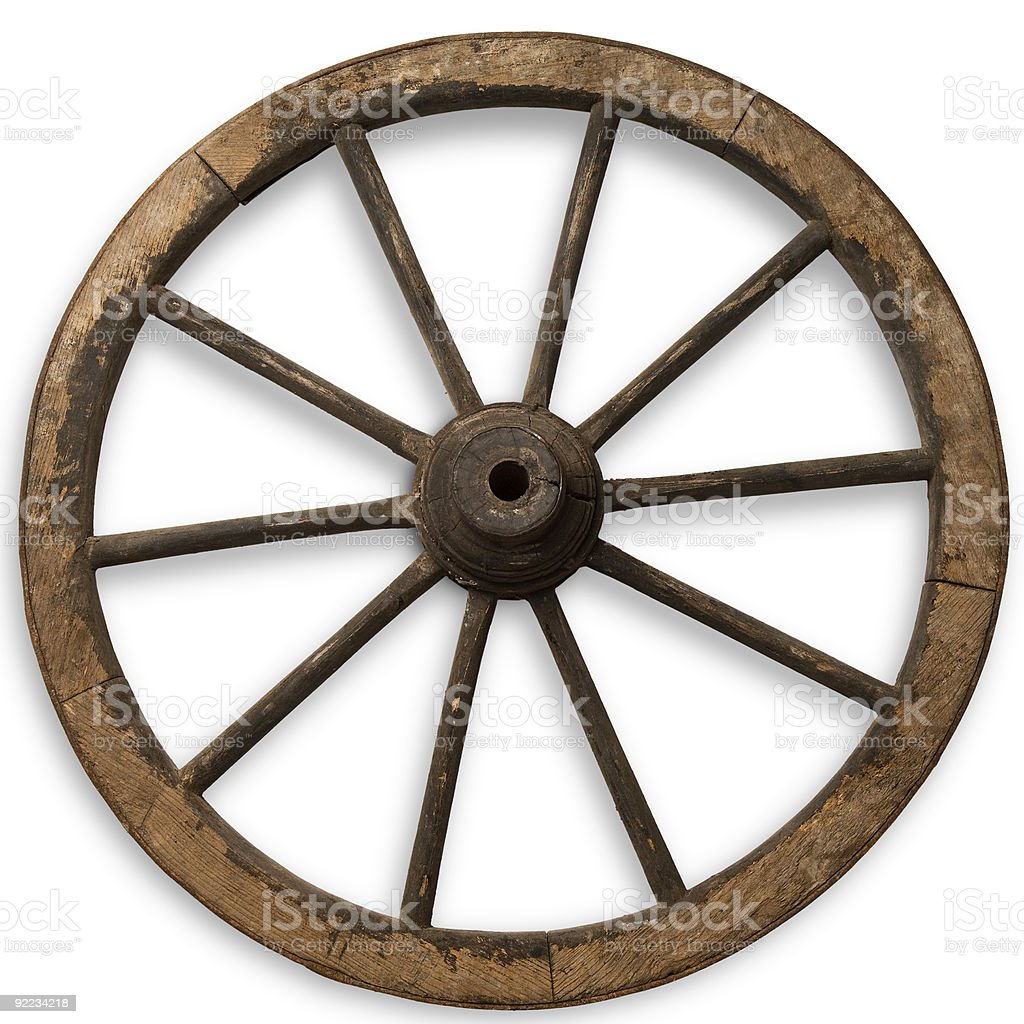 Isolated image of vintage wooden wheel stock photo