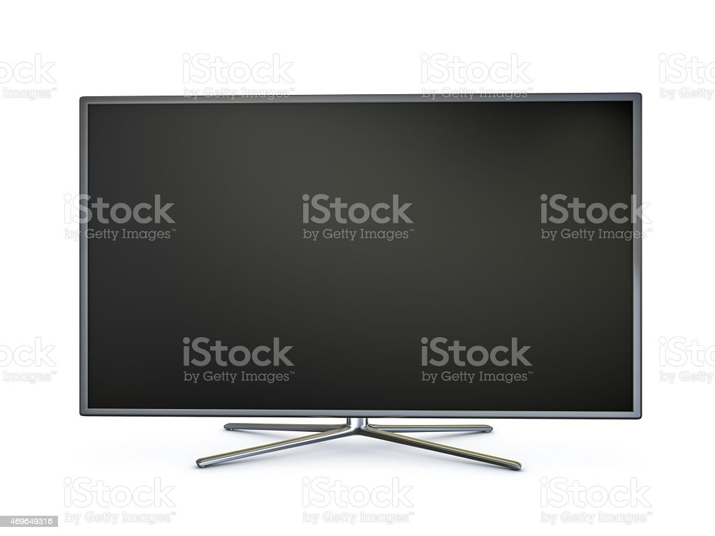 Isolated image of widescreen LED smart TV stock photo