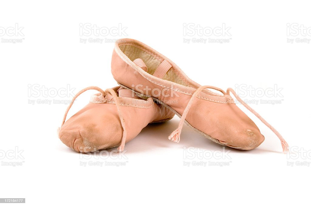 Isolated image of worn ballet slippers royalty-free stock photo