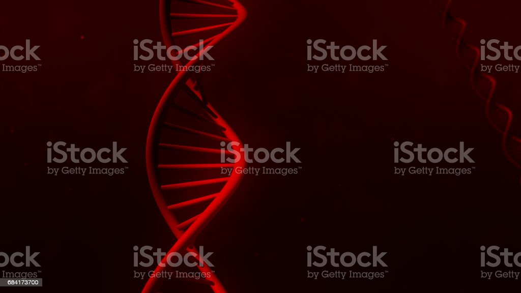 DNA isolated in red back ground 3d illustration stock photo