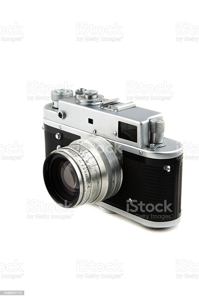 isolated in white vintage camera stock photo