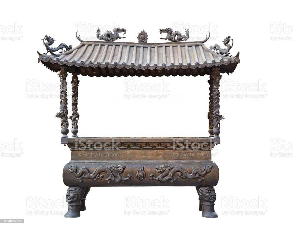 Isolated incense pot in Chinese style stock photo