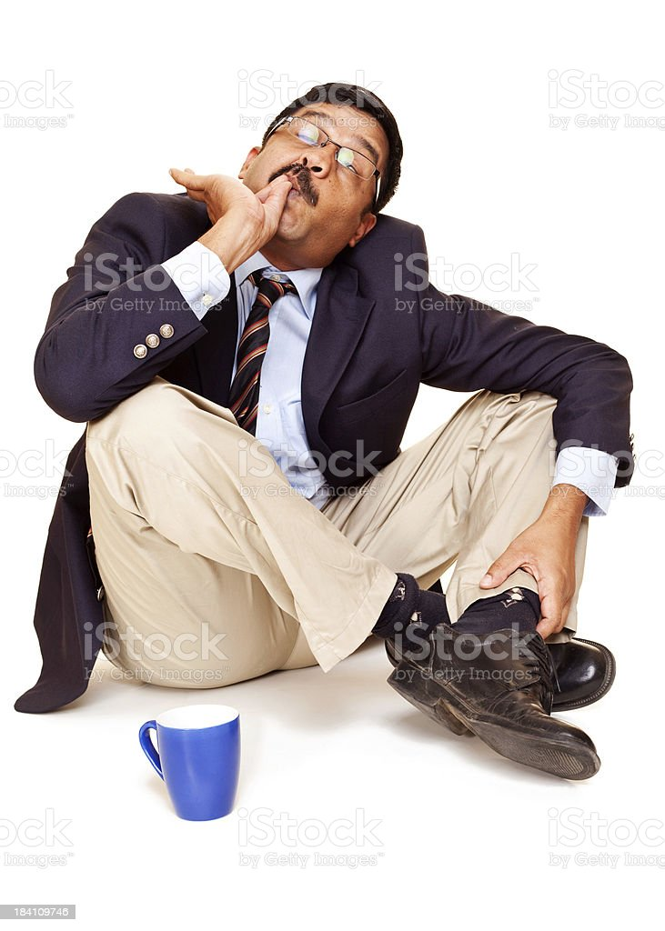 Isolated Indian Cheerful Businessman male Office Worker With Coffee Mug royalty-free stock photo