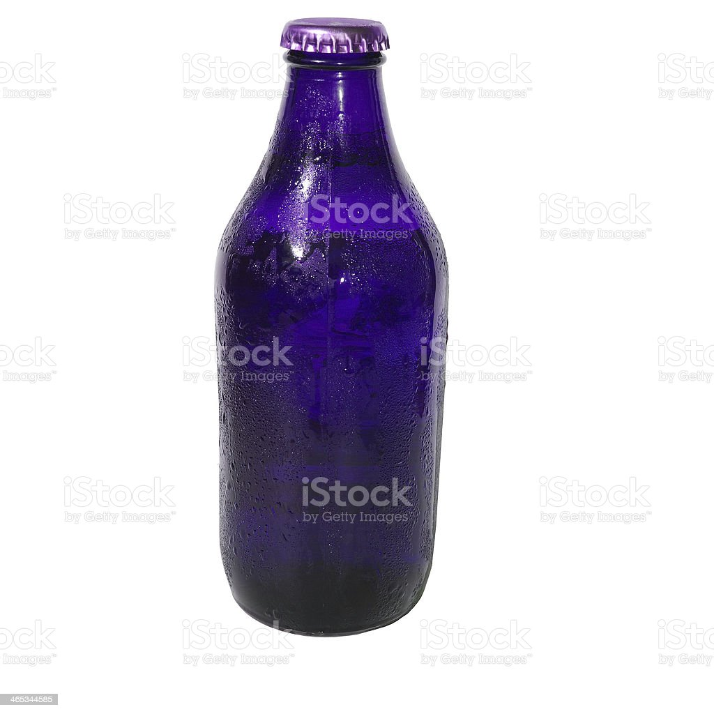 Isolated Indigo Beer Bottle stock photo
