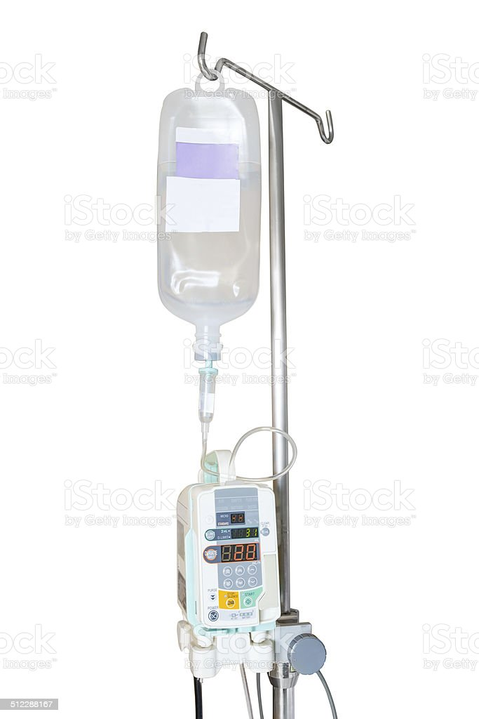 Isolated infusion pump and IV hanging on pole stock photo
