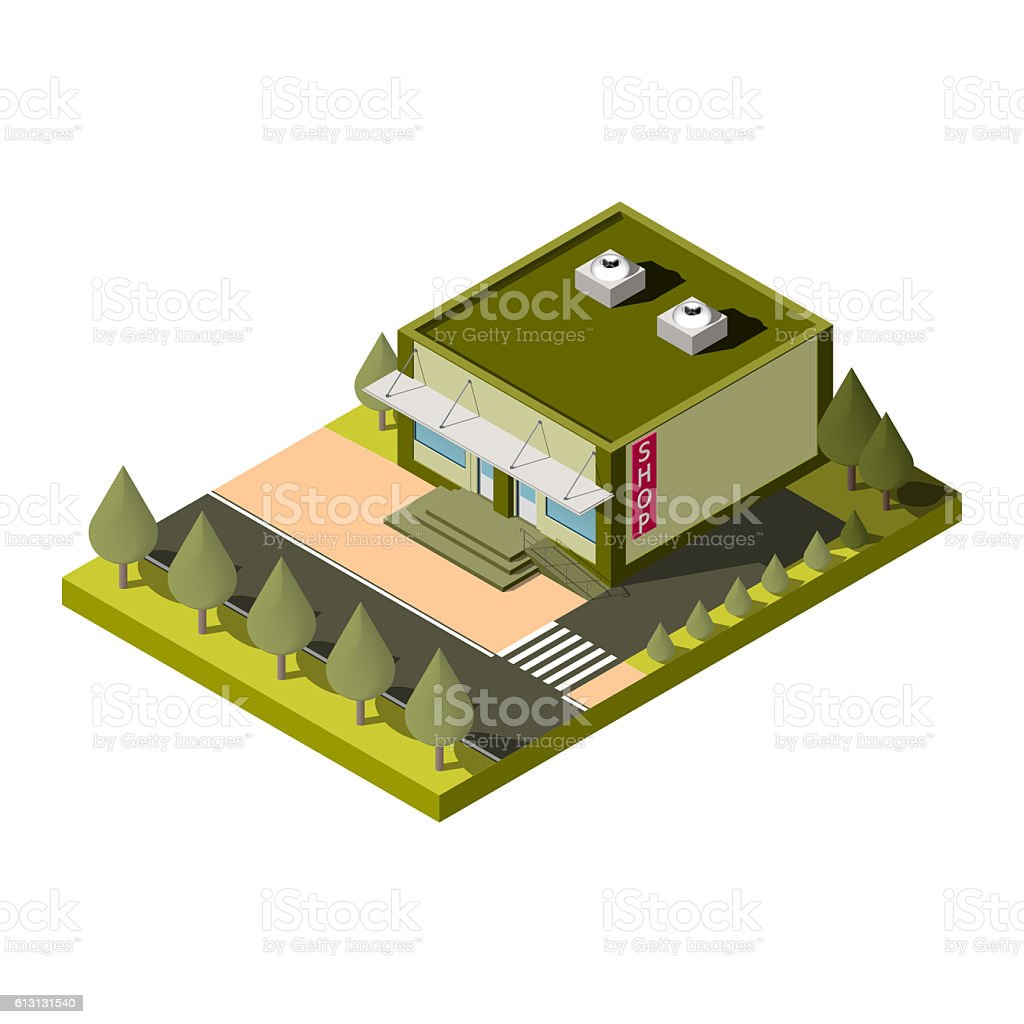 Isolated isometric shop building icon. stock photo