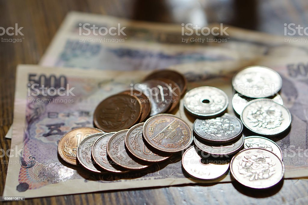 Isolated Japanese currency (yen) with its Asian stock photo
