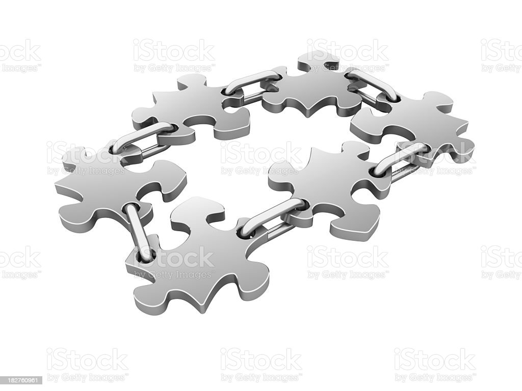 Isolated Jigsaw pieces with Chains royalty-free stock photo