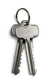 Isolated Keys on White with Clipping Path