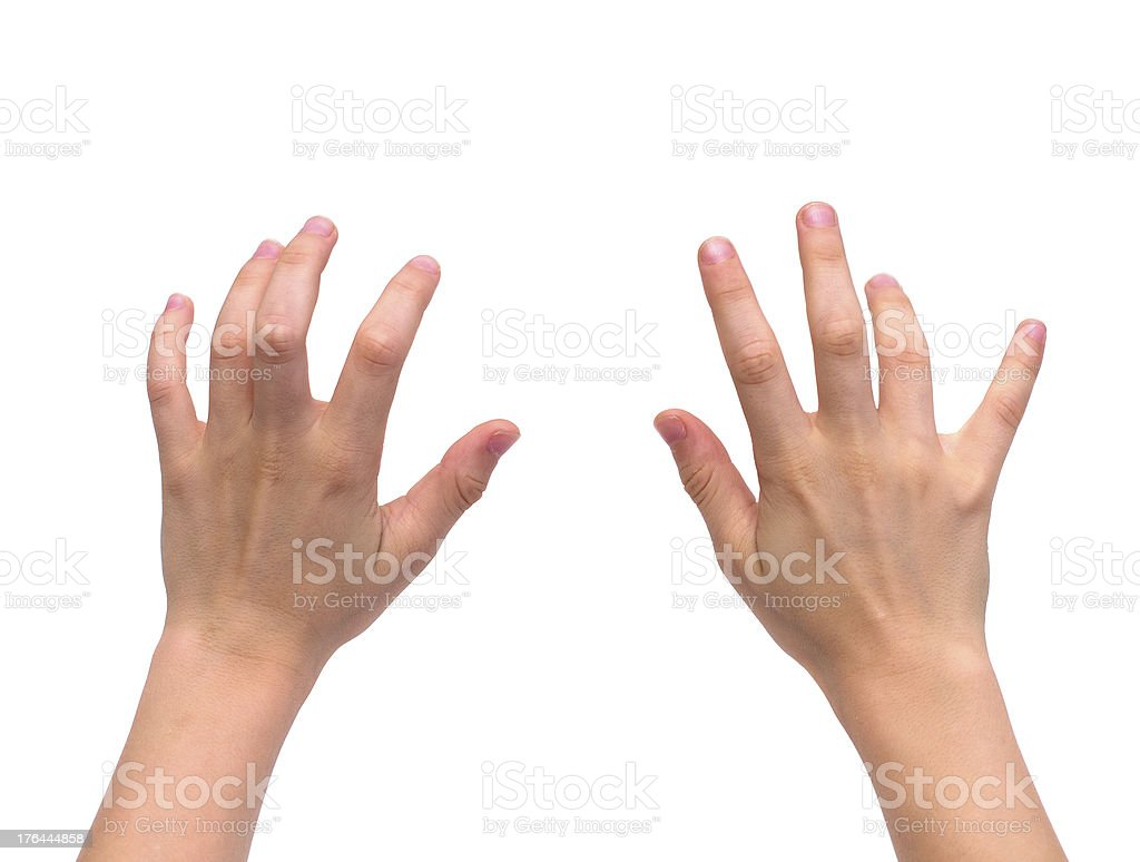 isolated kid hands stock photo