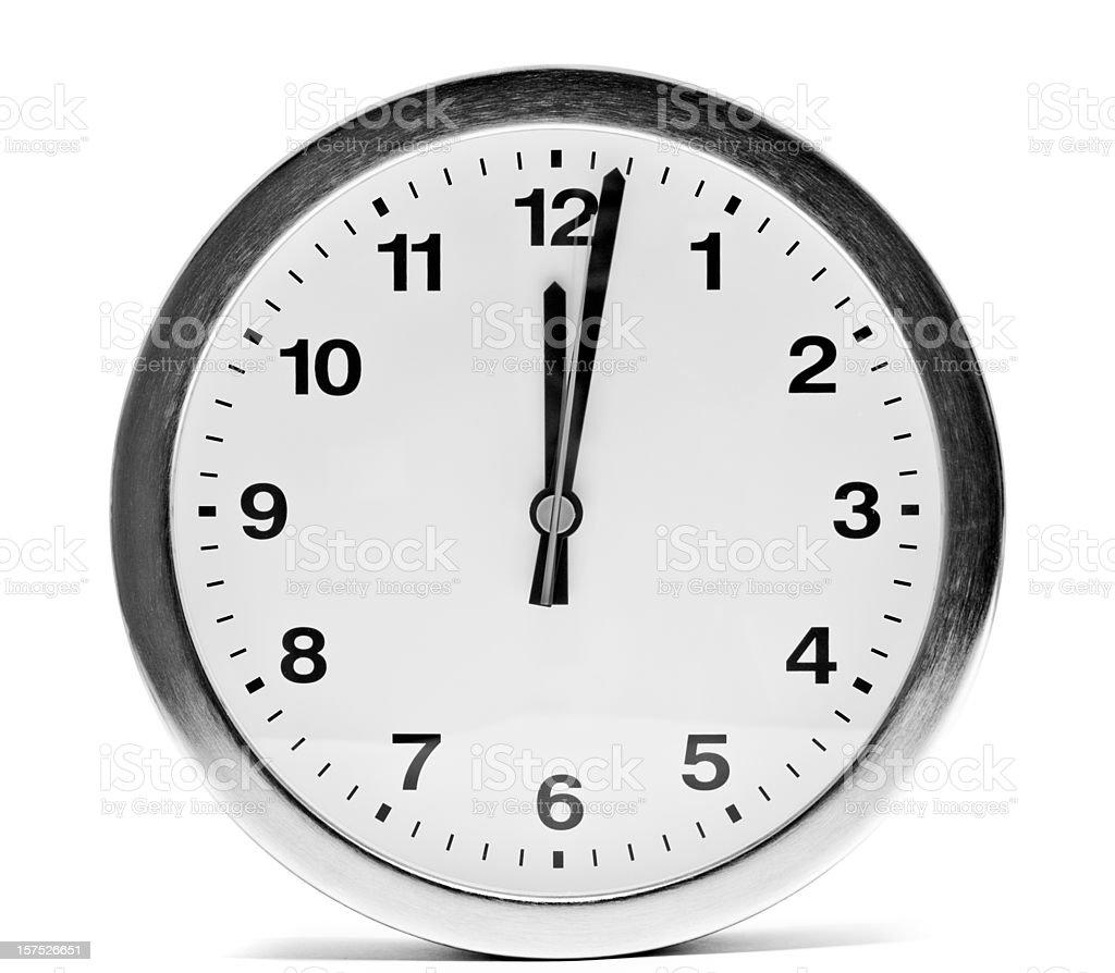 isolated kitchen clock at 12:02 stock photo