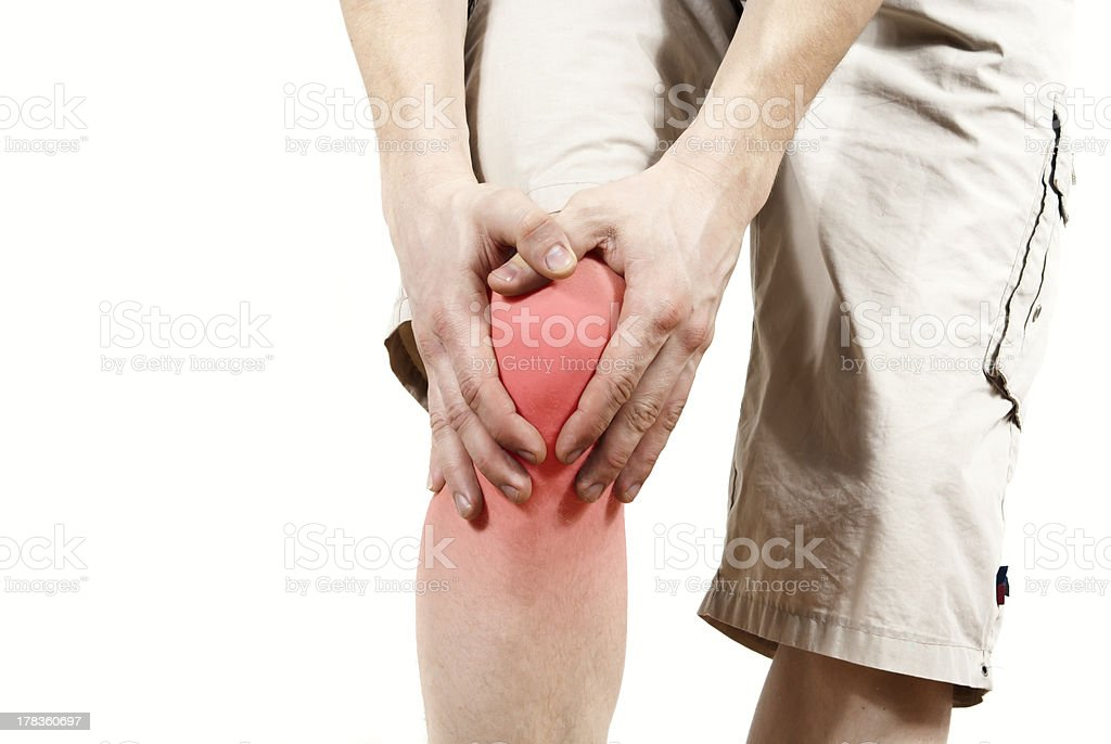 isolated knee pain stock photo