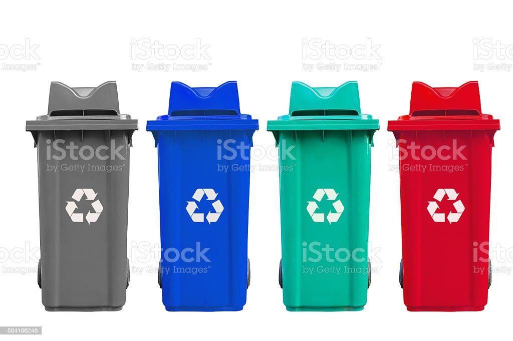 Isolated large four color garbage bins with wheel stock photo