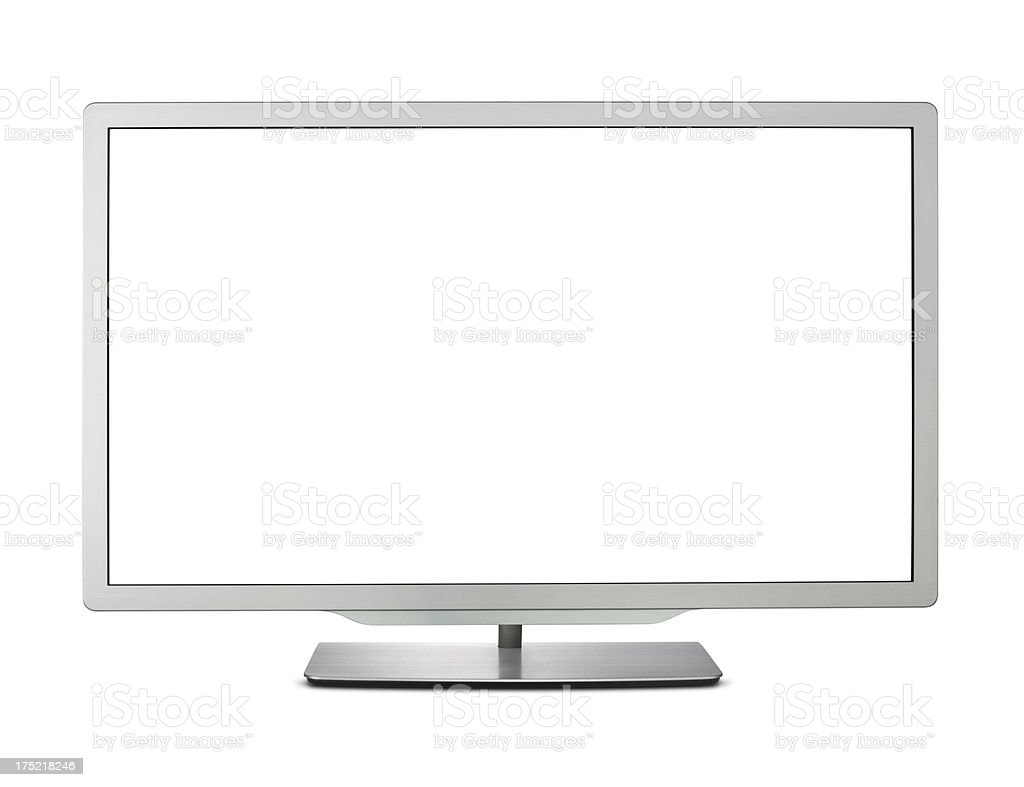 Isolated LCD TV with a white screen stock photo