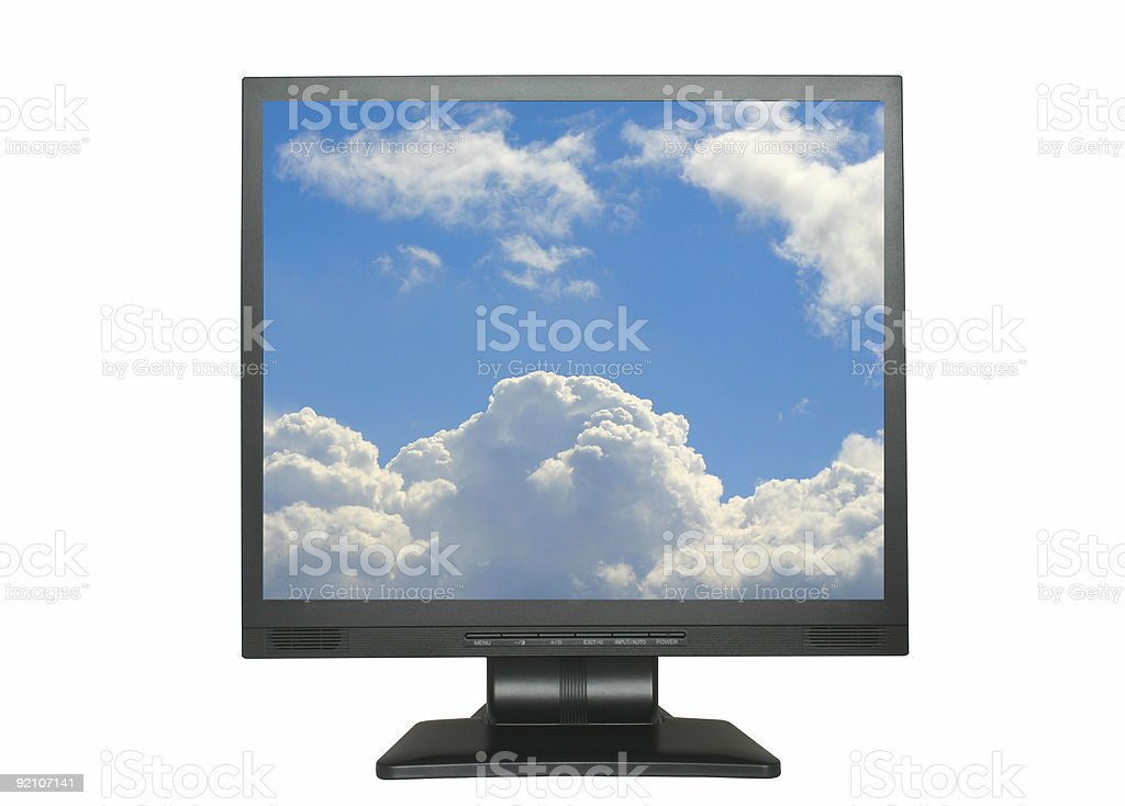 isolated LCD with blue cloudy sky royalty-free stock photo