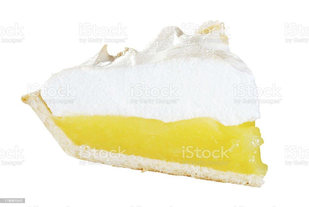 isolated lemon meringue pie slice stock photo