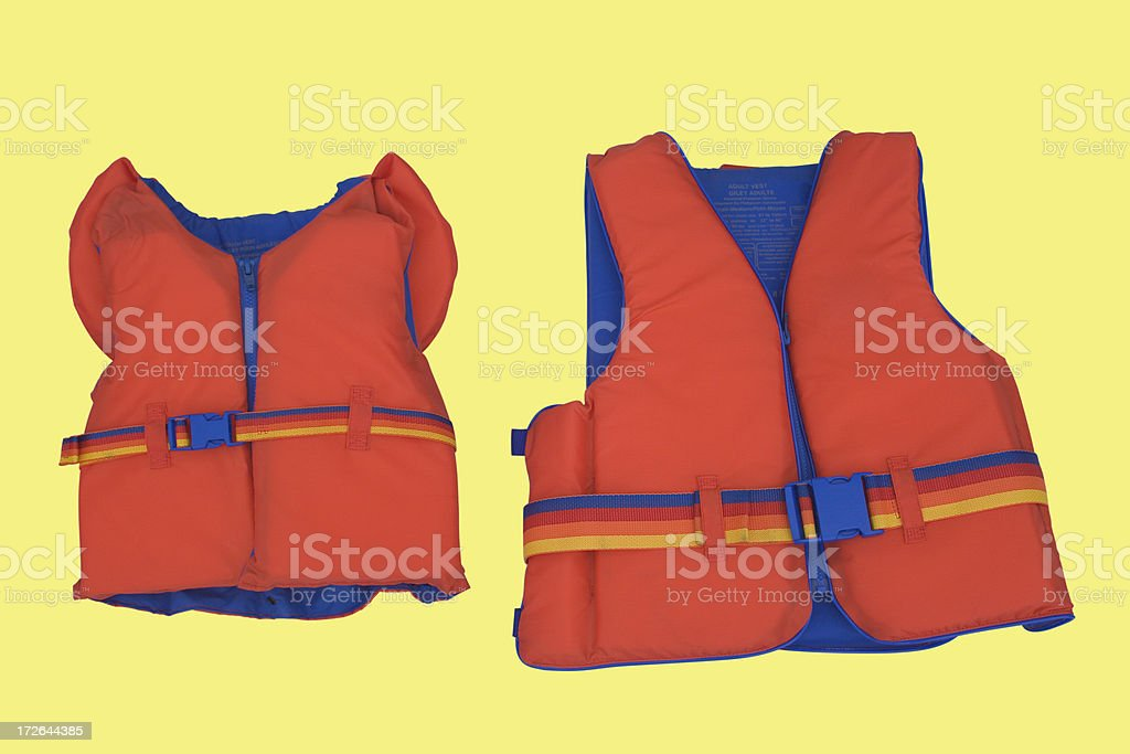 Isolated lifejackets with path stock photo