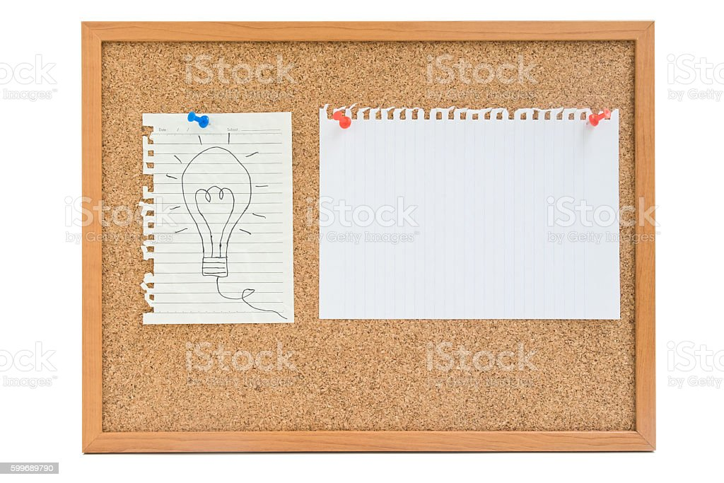 Isolated light bulb on paper with empty paper on board stock photo
