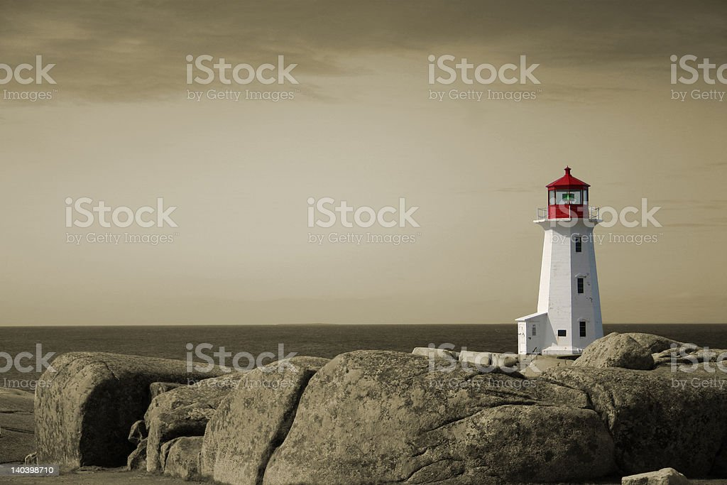 Isolated Lighthouse on Sepia royalty-free stock photo