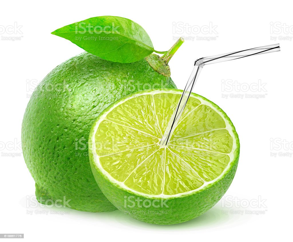 Isolated lime juice stock photo
