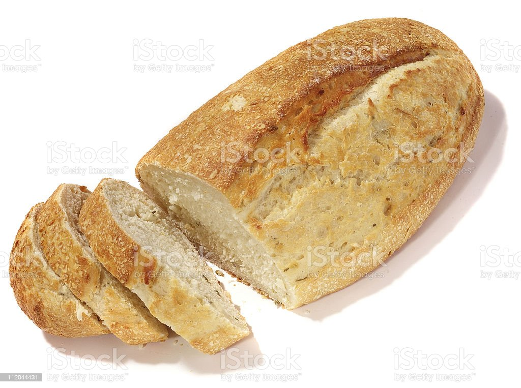 isolated loaf of rustic bread royalty-free stock photo