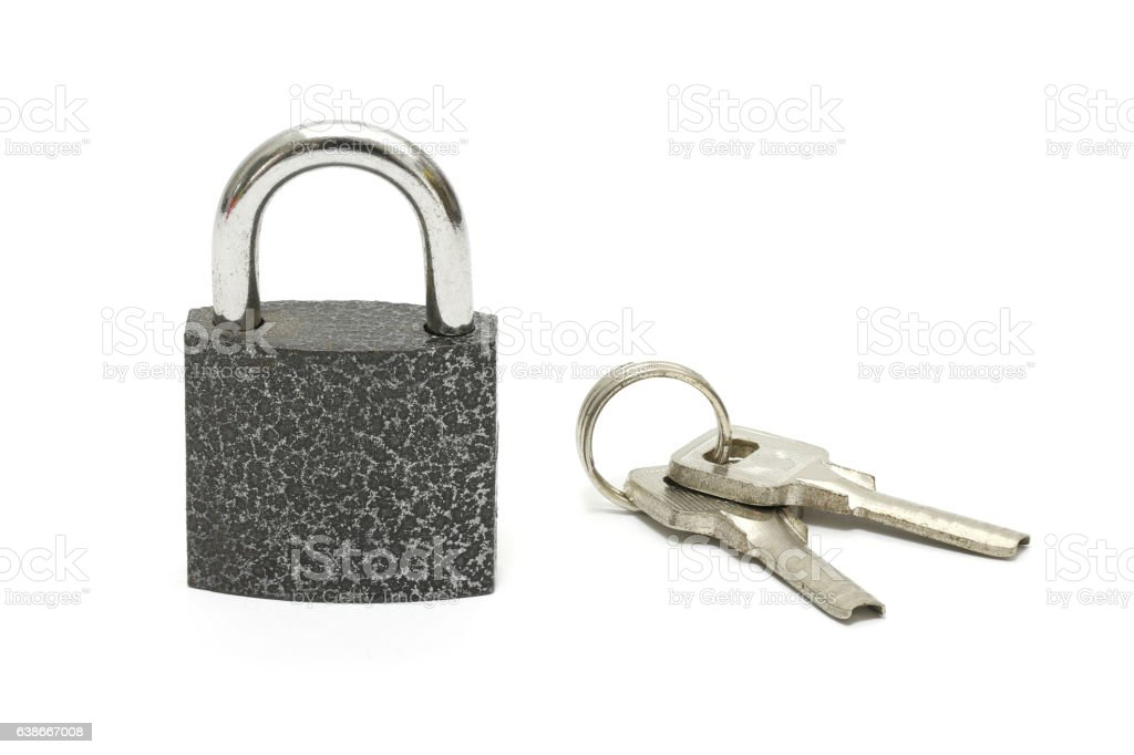 Isolated lock and key chain on white background stock photo