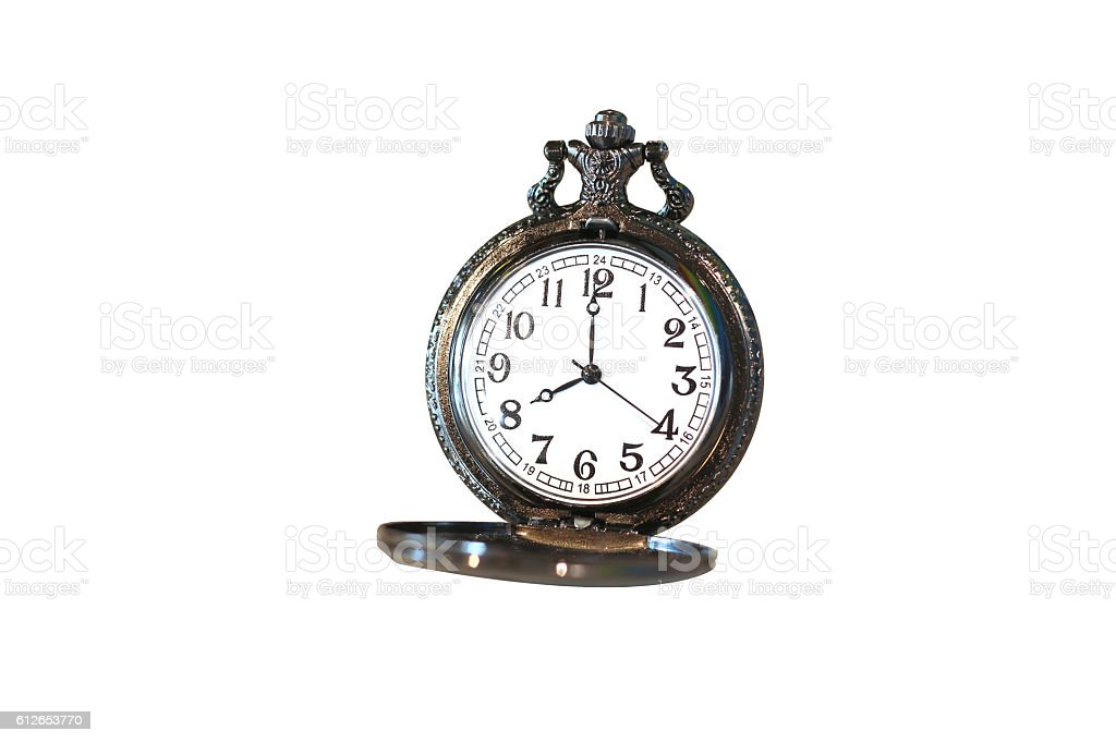 Isolated luxury vintage black pocket watch on white background stock photo