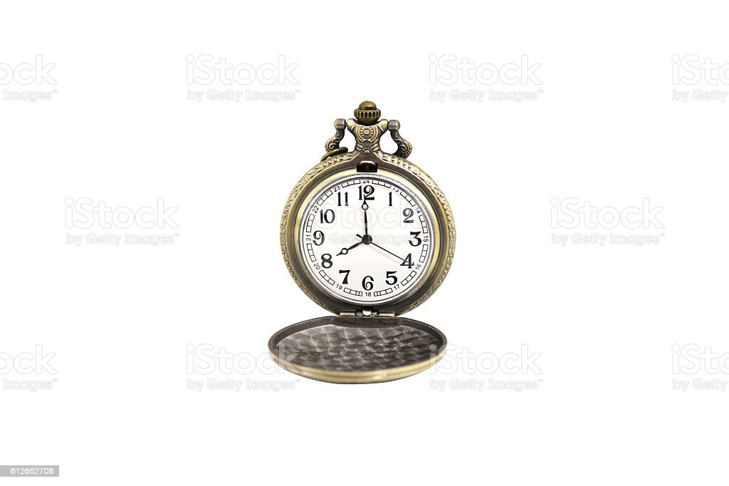 Isolated luxury vintage golden pocket watch on white background stock photo