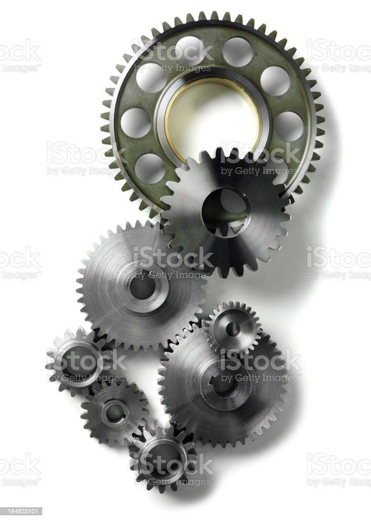 Isolated Machine Cogs and Gears stock photo