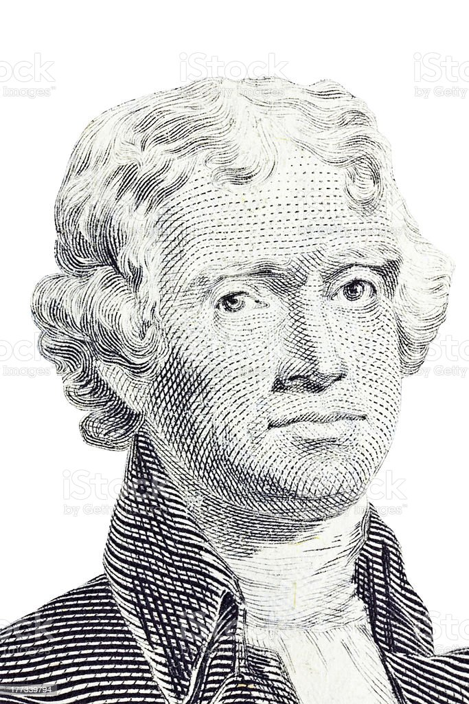 Isolated Macro of Thomas Jefferson on US two dollar bill. stock photo