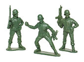 isolated macro toy soldiers
