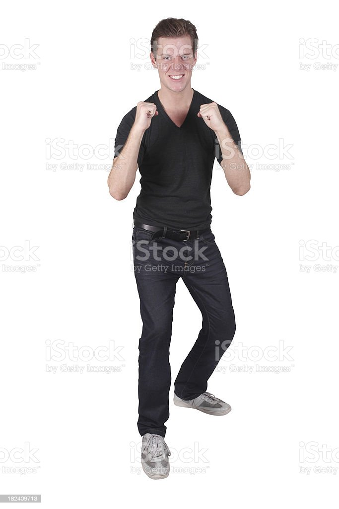 Isolated male fists up ready to fight stock photo