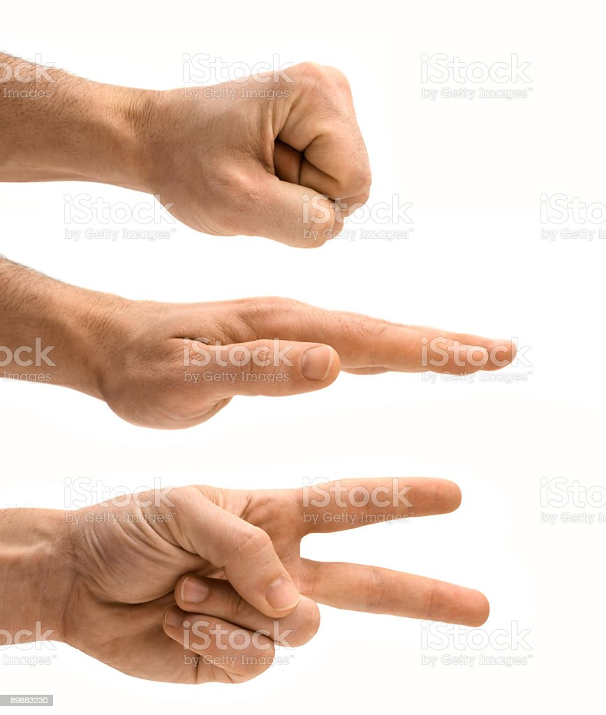 Isolated Male Hands Symbolizing Rock Paper Scissors on White stock photo