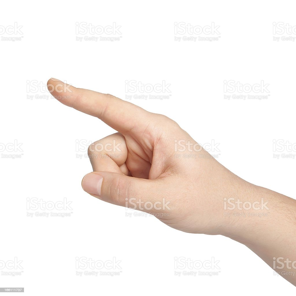 isolated man hand points to an object stock photo