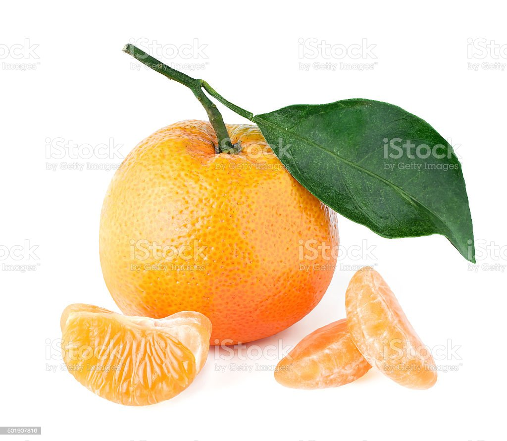 Isolated mandarin with a leaf and segments stock photo
