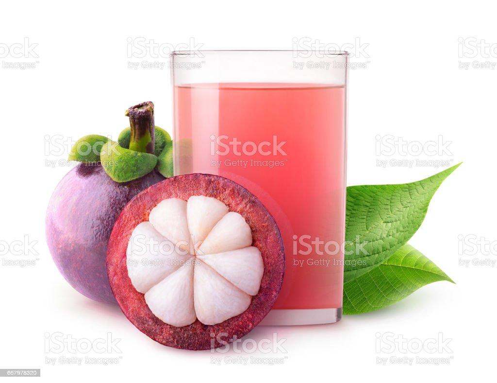 Isolated mangosteen juice stock photo