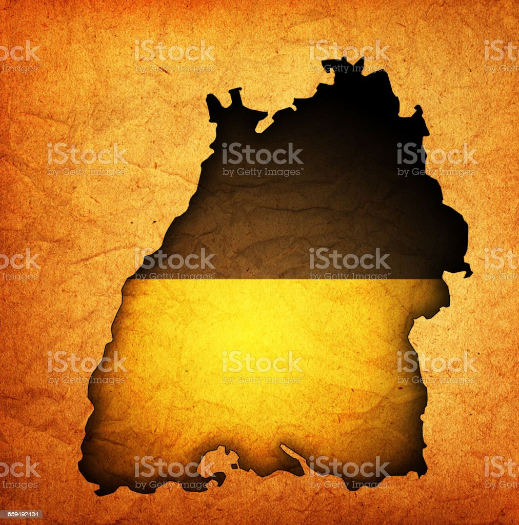 isolated map of baden region with flag stock photo
