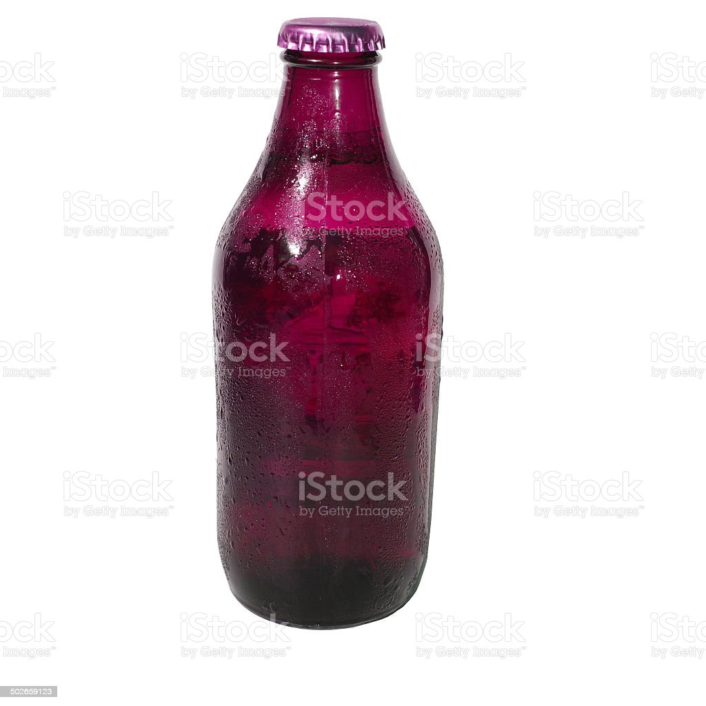 Isolated Mauve Beer Bottle stock photo