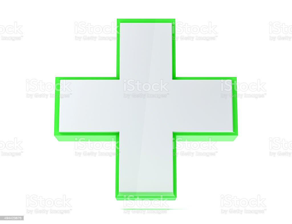 3D isolated medical aid cross render stock photo