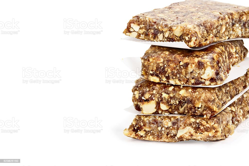 Isolated Medjool Date and Cashew Protein Bars stock photo