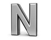 3D Isolated Metal Metallic N Letter Alphabet Logo Illustration.