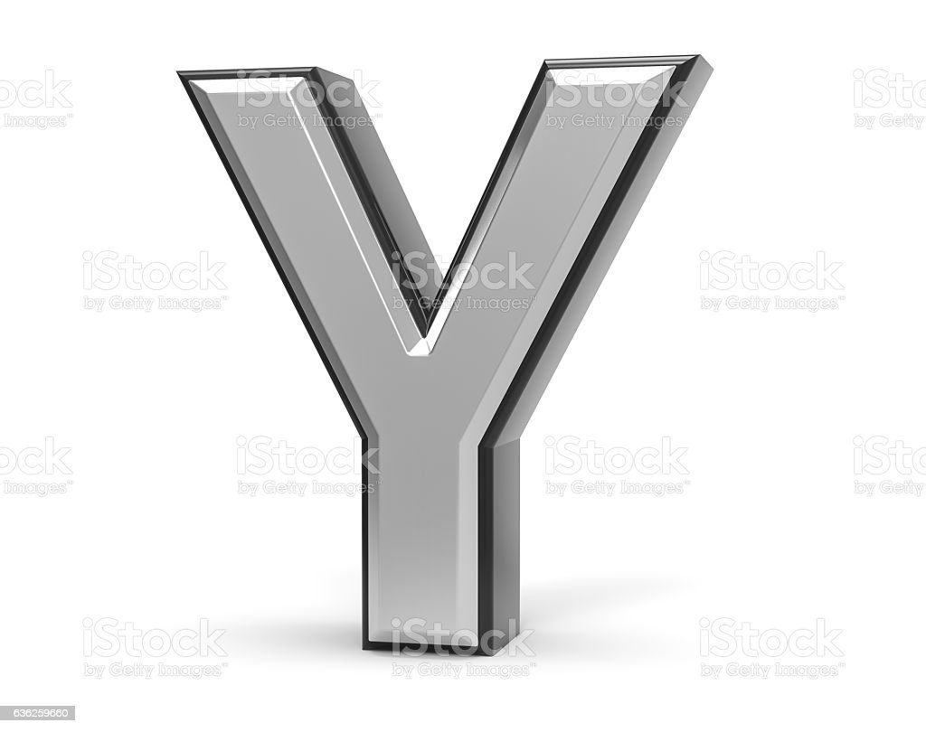 3D Isolated Metal Metallic Y Letter Alphabet Logo Illustration. stock photo